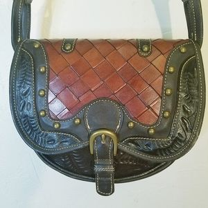 American West hand tooled woven leather crossbody